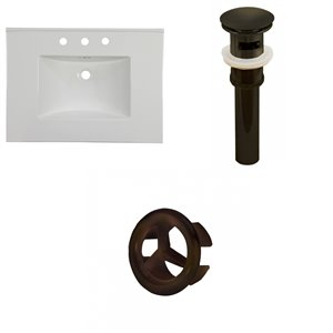 American Imaginations Flair 30.75 x 22.25-in White Widespread Ceramic Top With Oil Rubbed Bronze Overflow Cap And Sink Drain