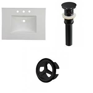 American Imaginations Flair 30.75-in x 22.25-in White Widespread Ceramic Top Set With Black Overflow Cap And Sink Drain
