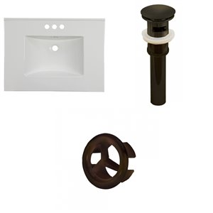 American Imaginations Flair 30.75x22.25-in White Ceramic 4-in Center Vanity Top Oil Rubbed Bronze Sink Drain and Overflow Cap