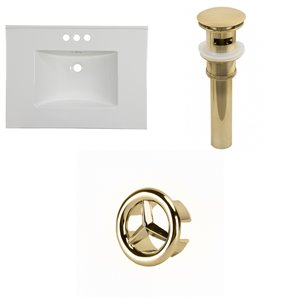 American Imaginations Flair 30.75-in x 22.25-in White Widespread Ceramic Top Set With Gold Overflow Cap And Sink Drain