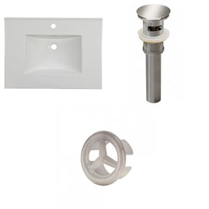 American Imaginations Flair 30.75-in x 22.25-in White Singlehole Ceramic Top Set With Brushed Nickel Overflow Cap And Sink Drain