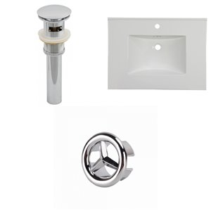 American Imaginations Flair 30.75-in x 22.25-in White Singlehole Ceramic Top Set With Chrome Overflow Cap And Sink Drain