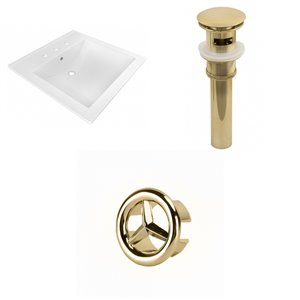 American Imaginations 21.5-in x 18.5-in  White Ceramic Vanity top Set 4-in Centreset Gold Sink Drain Overflow Cap