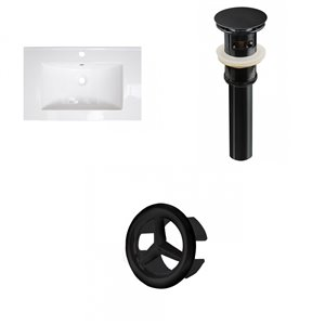 American Imaginations 24-in x 18-in White Ceramic Single Sink Black Drain with Overflow Cap