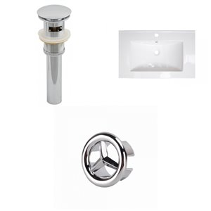 American Imaginations 24-in x 18-in White Ceramic Single Sink Chrome Drain with Overflow Cap