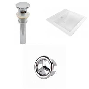 American Imaginations 21.5-in x 18.5-in White Ceramic Vanity Top Set Single Hole Chrome Bathroom Sink Drain Overflow Cap