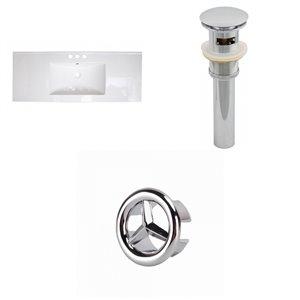 American Imaginations Flair 48.75-in x 22-in White Ceramic Vanity Top Set 4-in Centreset Chrome Bathroom Sink Drain Overflow Cap