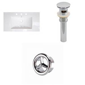 American Imaginations Flair 36.75 x 22.5-in White Ceramic Widespread Vanity Top Set Brushed Nickel Sink Drain and Overflow Cap