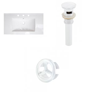 American Imaginations Flair 36.75 x 22.25-in White Ceramic 4-in Centerset Vanity Top Set White Bathroom Drain and Overflow Cap