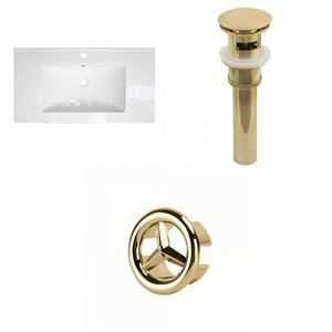 American Imaginations Flair 36.75 x 22.25-in White Ceramic Single Hole Vanity Top Set Gold Bathroom Drain and Overflow Cap
