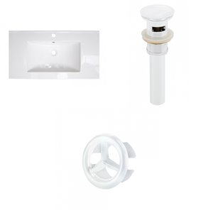 American Imaginations Flair 36.75 x 22.25-in White Ceramic Single Hole Vanity Top Set White Bathroom Drain and Overflow Cap