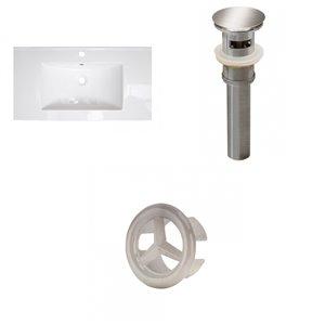 American Imaginations Flair 36.75x 22.25-in White Ceramic Single Hole Vanity Top  Brushed Nickel Bathroom Drain and Overflow Cap