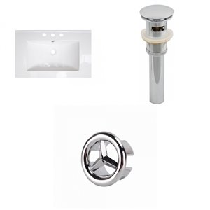 American Imaginations Flair 25 x 22-in White Ceramic Widespread Vanity Top Set Chrome Sink Drain and Overflow Cap