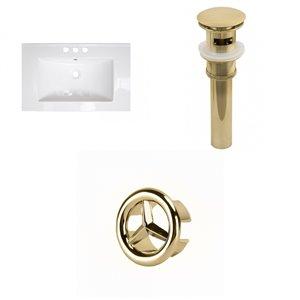 American Imaginations Flair 25-in x 22-in White Ceramic Vanity Top Set 4-in Centreset Gold Bathroom Sink Drain Overflow Cap