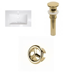 American Imaginations Flair 25 x 22-in White Ceramic Single Hole Vanity Top Set Gold Sink Drain and Overflow Cap