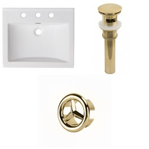 American Imaginations Omni Widespread 21- in x 18.5- in White Ceramic Top Set With Gold Overflow Cap and Drain
