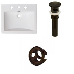 American Imaginations Omni Widespread 21- in x 18.5- in White Ceramic Top Set With Oil Rubbed Bronze Overflow Cap and Drain