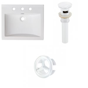 American Imaginations Omni Widespread 21- in x 18.5- in White Ceramic Top Set With White Overflow Cap and Drain