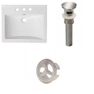 American Imaginations Omni 21- in x 18.5-in White Ceramic Top Set With Brushed Nickel Overflow Cap and Drain