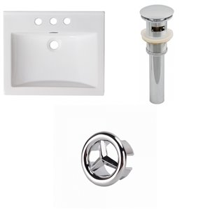 American Imaginations Omni 21-in x 18.5-in White Ceramic Top Set With Chrome Overflow Cap and Drain