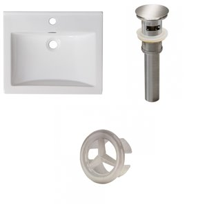 American Imaginations Omni 21- in x 18.5- in Single Hole White Ceramic Top Set With Brushed Nickel Overflow Cap and Drain