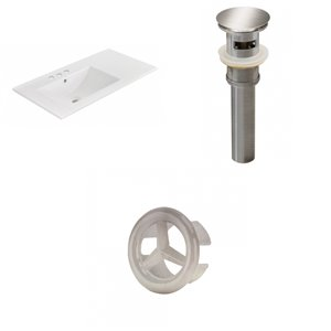 American Imaginations 35.5 x 18.25-in White Ceramic Vanity Top 4-in Centre Brushed Nickel Bathroom Sink Drain Overflow Cap