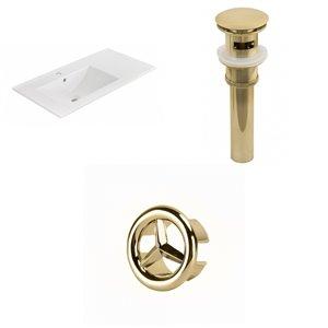 American Imaginations 35.5-in x 18.25-in White Ceramic Vanity Top Set Single Hole Gold Bathroom Sink Drain Overflow Cap