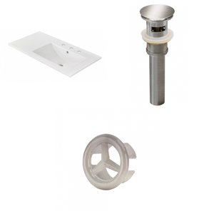 American Imaginations 35.5-in x 18.25-in  White Ceramic Top Set with Brushed Nickel Drain