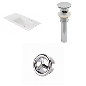 American Imaginations 35.5-in x 18.25-in  White Ceramic Top Set with Chrome Drain and Overflow Cap