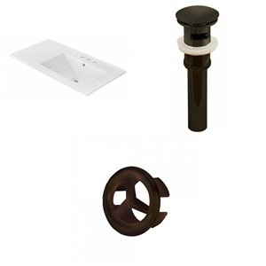 American Imaginations 35.5x18.25-in White Ceramic Vanity Top 4-in Centre Oil rubbed Bronze Bathroom Sink Drain Overflow Cap
