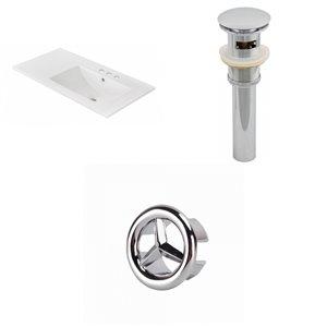 American Imaginations 35.5-in x 18.25-in White Ceramic Vanity Top Set 4-in Centreset Chrome Bathroom Sink Drain Overflow Cap