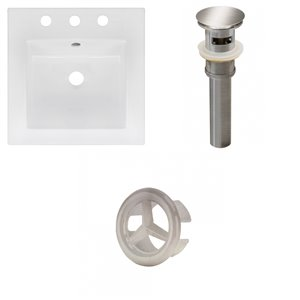 American Imaginations 16.5 x 16.5-in White Ceramic Widespread Vanity Top Set Brushed Nickel Sink Drain and Overflow Cap