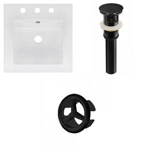 American Imaginations 16.5 x 16.5-in White Ceramic Widespread Vanity Top Set Black Sink Drain and Overflow Cap