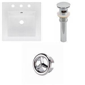 American Imaginations 16.5 x 16.5-in White Ceramic Widespread Vanity Top Set Chrome Sink Drain and Overflow Cap