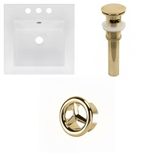 American Imaginations 16.5 x 16.5-in White Ceramic Centerset Vanity Top Set Gold Sink Drain and Overflow Cap