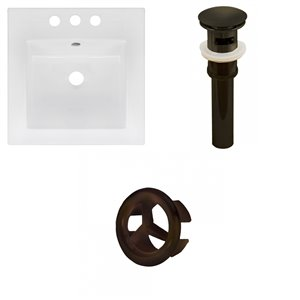 American Imaginations 16.5 x 16.5-in White Ceramic Centerset Vanity Top Set Oil Rubbed Bronze Sink Drain and Overflow Cap