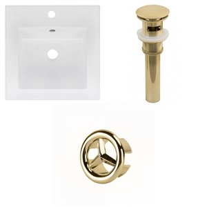 American Imaginations 16.5 x 16.5-in White Ceramic Single Hole Vanity Top Set Gold Sink Drain and Overflow Cap