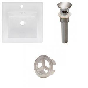 American Imaginations 16.5 x 16.5-in White Ceramic Single Hole Vanity Top Set Brushed Nickel Sink Drain and Overflow Cap