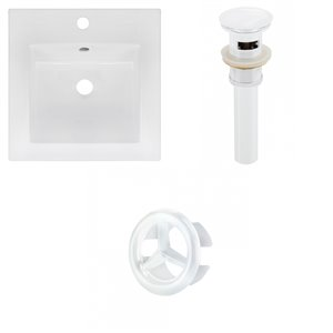 American Imaginations 16.5 x 16.5-in White Ceramic Single Hole Vanity Top Set White Sink Drain and Overflow Cap