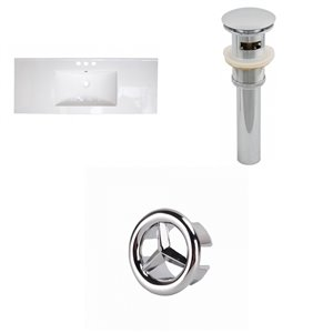 American Imaginations 39.75 x 18.25-in White Ceramic 4-in Centerset Vanity Top Set Chrome Sink Drain and Overflow Cap