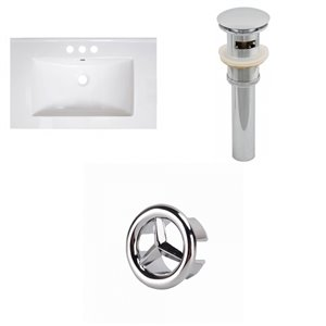 American Imaginations Vee 30-in x 18.5-in White 4-in Centreset Ceramic Top Set With Black Sink Drain And Overflow Cap