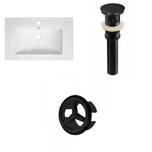 American Imaginations Vee 30-in x 18.5-in White Singlehole Ceramic Top Set With Black Sink Drain And Overflow Cap