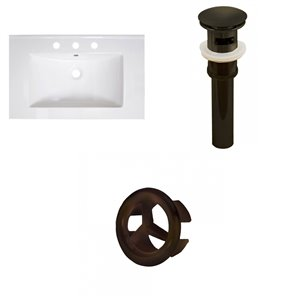 American Imaginations Vee 30-in x 18.5-in White Widespread Ceramic Top Set With Oil Rubbed Bronze Sink Drain And Overflow Cap