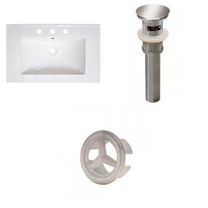 American Imaginations Vee 30 x 18.5-in White Ceramic Widespread Vanity Top Set Brushed Nickel Sink Drain and Overflow Cap