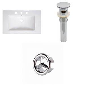 American Imaginations Vee 30 x 18.5-in White Ceramic Widespread Vanity Top Set Chrome Sink Drain and Overflow Cap