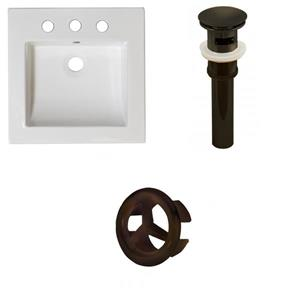 American Imaginations 21.5-in White Ceramic Vanity Top Set With Oil Rubbed Bronze Overflow Cap And Sink Drain