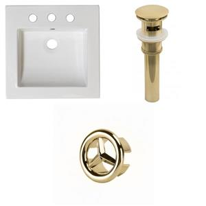 American Imaginations 21.5-in White Ceramic Vanity Top Set With Gold Overflow Cap And Sink Drain