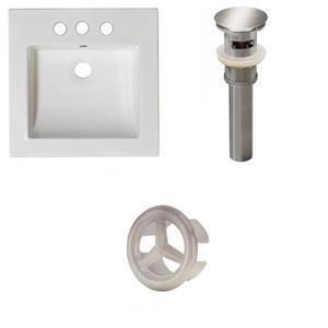 American Imaginations 21.5-in White Ceramic Vanity Top Set Brushed Nickel Overflow Cap And Sink Drain