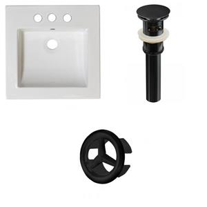 American Imaginations 21.5-in White Ceramic Vanity Top Set With Black Overflow Cap And Sink Drain