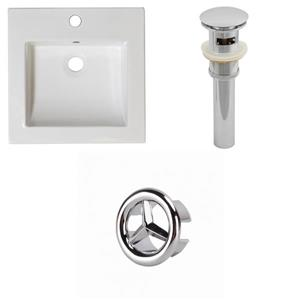 American Imaginations 21.5-in White Ceramic Vanity Top Set With Chrome Overflow Cap And Sink Drain